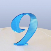 Number 9 Cake Topper Blue Acrylic Mirror in Script