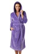 Ladies Flannel Fleece Hooded Robe in Optic White & Purple - Sizes