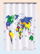 World Map Plastic shower curtain 180 x 180 cm