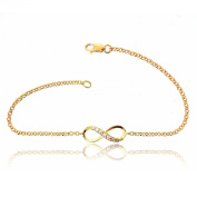 Sovats Woman Infinity Stone Chain Bracelet Yellow Gold Plated