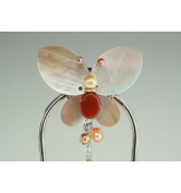 Large Big Hairpin Butterfly design - Mother of Pearl White and Red Jade Stone