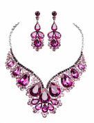 Clearbridal Jewellery 18K White Gold Plated Metal Earrings Necklace Rhinestone Accessories 15066