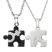 UM Jewellery His and Hers Crystal Stainless Steel Black Silver Puzzle Pendant Couple Necklaces