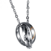 UM Jewellery Couples Necklace Crystal Stainless Steel Heart Puzzle Double Rings Pendant and Chain