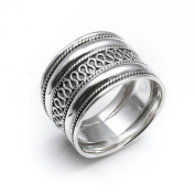 Silverly Women's Men's .925 Sterling Silver Rope Scroll Work Bali Thick 15.3mm Thumb Ring