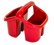Cherry Red Plastic 4 Compartment Sink Tidy Cutlery Drainer Filter Caddy with Handle