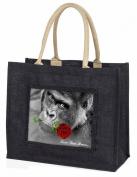 Gorilla+Red Rose 'Love You Mum' Large Black Jute Shopping Bag Animal Gift