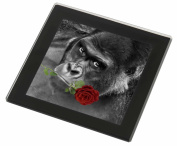 Gorilla with Red Rose in Mouth Glass Coaster with Black Rim Animal Gift