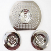 3pc Sink Bath Strainer Hair Trap Food Filter Basin Plug Hole Chrome Silver