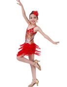 Fashion Latin Dance Costumes Girls Latin Costume Performance Dress Red