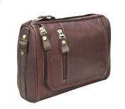 Prime Hide Outback Range Luxury Brown Leather Hanging Wash Bag / Toiletry Bag
