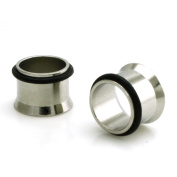 Stainless Steel Tunnel With Rubber Stopper Ear Expander Plug Set