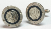 Sikh Khanda Cuff Link Pair Oval Black & Chrome with Gift Box