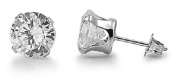 925 STERLING SILVER CUBIC ZIRCONIA CZ ROUND 4MM STUD EARRINGS. UNISEX. BRAND NEW & BOXED.