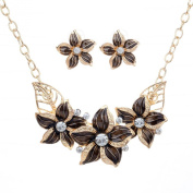 Yazilind Vogue Gold Plated Crystal Purple Enamel Flower Bib Collar Necklace Earrings Jewellery Set