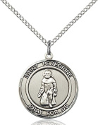 Sterling Silver St. Peregrine Pendant with 46cm Stainless Steel Lite Curb Chain. Patron Saint of Cancer/Running Sores