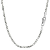 Sterling Silver Rhodium Plated Fancy Popcorn Rope Chain - 1.8mm
