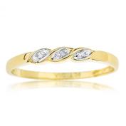 Ornami Glamour 9ct Yellow Gold Diamond Set Twist Ring - Size S