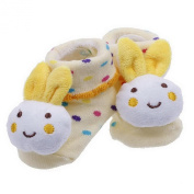 Double Baby Indoor Anti-slip Warm Knitting 3D Socks White Bunny 0-12 Moths