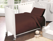 Love2Sleep 100% EGYPTIAN COTTON COT BED DUVET COVER 100 X 120 CM & PILLOWCASE SET : CHOCOLATE