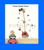 Pirate Monkey -Girls - Boys -Baby - Nusery - Bedroom - Child - Height Chart, Growth Chart, Measurement Chart Wall Stickers