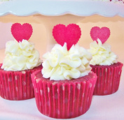 Red Heart Cake Decorations by Deb's Kitchen Cakes - Edible Wafer Stand Up Hearts - Red Cupcake Hearts - Heart Cake Toppers