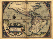 Reproduction Antique Map of North & South America by Abraham Ortelius A1 Size 78 x 57 cm
