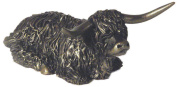 Highland Bull Sitting - cold cast bronze sculpture from Frith