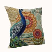 Amybria Cotton Linen Bed Car Sofa Decor Throw Pillow Case Cushion Cover Peacock D