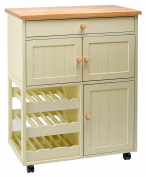 Traditional Buttermilk Multi Purpose Country Kitchen Wooden Mobile Pantry.