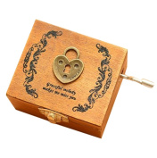 Love Lock Classic Wooden Mini Clockwork Musical Box Decorative Box