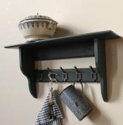 "Shabby chic shelf with vintage school coat hooks ""Railings"""