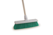30cm Soft Colour Coded Food Hygiene Brush Sweeping Broom and Aluminium Handle GREEN