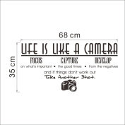 """""""Life is like a Camera"""" wall quote art sticker decal for home bedroom decor corp office wall"""