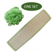 BIG SIZE! Brusybrush Bamboo Fibre Loofah Back Scrubber Belt - Easy to Use Body Scrubber & Back Exfoliator for Promoting Healthy Skin - Bonus Mesh Body Sponge Included!