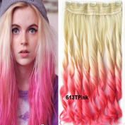 Beauty wig world New Two Tone One Piece Long Curly Wavy Synthetic Thick Hair Extension Clip-on Hairpieces 10Colors