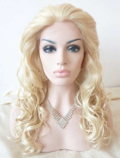 Sylvia Long Tight Curly White Blond Synthetic Lace Front Wig