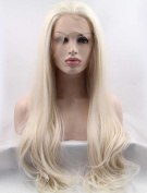 Sylvia Long Straight White Blond Synthetic Lace Front Wig