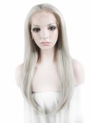 Lace Wig Long Straight Heat Resistant Synthetic Lace Front Wig Grey
