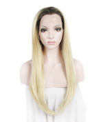 Lace Wig Ombre Wig Long Straight Heat Resistant Synthetic Lace Front Wig