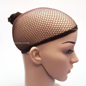 Beauties Factory Hair Wig Net Cap Open End Stretchable Elastic Mesh Fishcap Weaving Snood x 2 (Brown