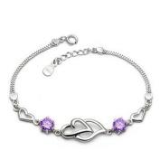 Korean Popular 925 Sterling Silver Crystal Rhinestone Double Hearts Chain Bracelet Bangle-Silver for Women/Girls
