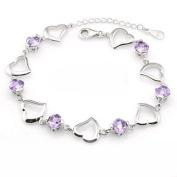 Korean Popular 925 Sterling Silver Crystal Rhinestone Heart Chain Bracelet Bangle-Silver for Women/Girls
