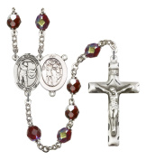 Silver Plate Rosary features 7mm Garnet Lock Link Aurora Borealis beads. The Crucifix measures 1 3/4 x 1. The centrepiece features a St. Sebastian / Tennis medal.
