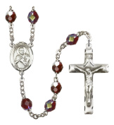 Silver Plate Rosary features 7mm Garnet Lock Link Aurora Borealis beads. The Crucifix measures 1 3/4 x 1. The centrepiece features a St. Margaret of Scotland medal.