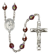 Silver Plate Rosary features 7mm Garnet Lock Link Aurora Borealis beads. The Crucifix measures 1 3/4 x 1. The centrepiece features a St. Winifred of Wales medal.