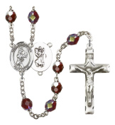 Silver Plate Rosary features 7mm Garnet Lock Link Aurora Borealis beads. The Crucifix measures 1 3/4 x 1. The centrepiece features a St. Christopher/Golf medal.