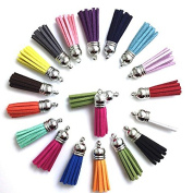 40mm Mix Colour Suede Tassel for Keychain Cellphone Straps Jewellery Charms,25pcs Leather Tassels Diy Accessories