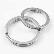 Szhoworld 10Pcs Silver Tone Stainless Steel Flat Split Rings Keyrings Keychains Keys Holder
