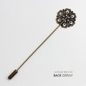 Antique Bronze Filigree Styled Flower Bobby Blank Setting Disc Stick Hat Pin for DIY Jewellery Making Findings 50piece/BP35